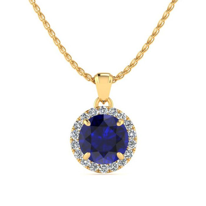 1 Carat Round Shape Sapphire & Halo Diamond Necklace in 14K Yellow Gold (1.4 g), H/I, 18 Inch Chain by SuperJeweler