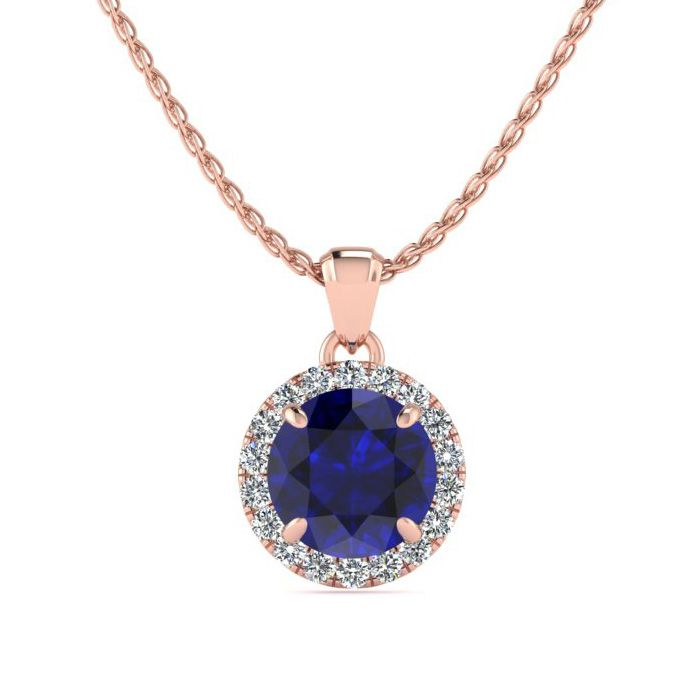 1 Carat Round Shape Sapphire & Halo Diamond Necklace in 14K Rose Gold (1.4 g), H/I, 18 Inch Chain by SuperJeweler