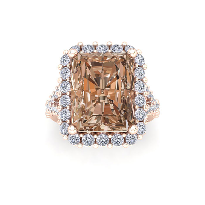 13 Carat Radiant Cut Fancy Brown Halo Diamond Engagement Ring in 18K Rose Gold (16 g) by SuperJeweler
