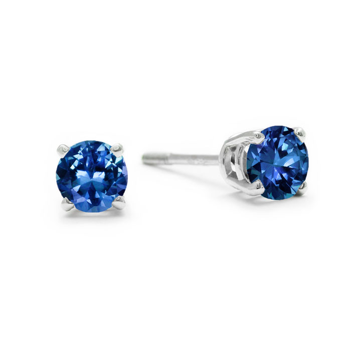 **SINGLE STUD** 1/4ct Blue Diamond SINGLE STUD Earring in 14k White Gold