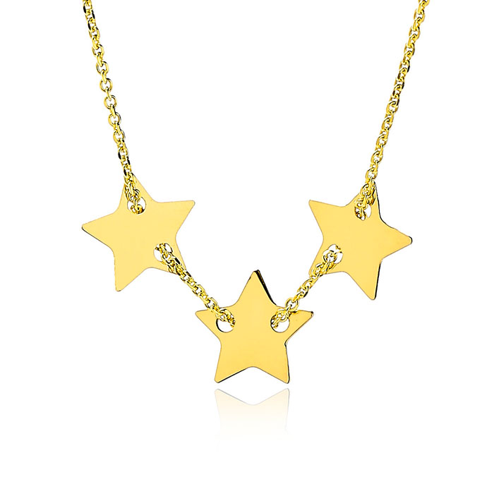 Adjustable Three Star Charm Chain Necklace in 14K Yellow Gold, 16