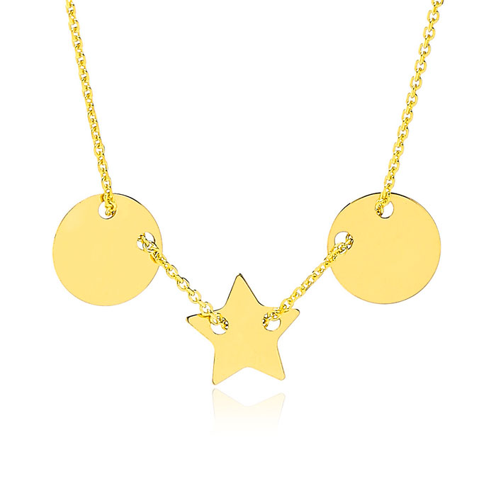 Adjustable Star & Disk Charm Chain Necklace in 14K Yellow Gold, 16-18 Inches by SuperJeweler