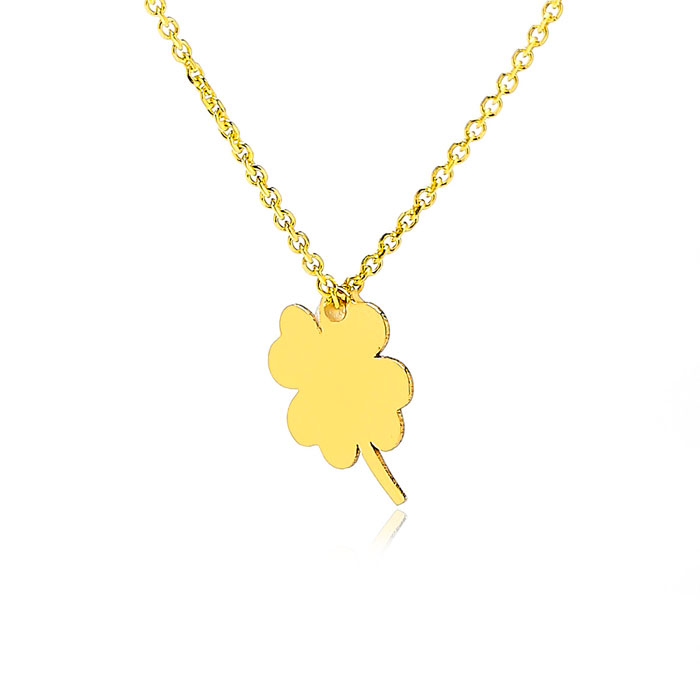 Adjustable Luck Of The Irish Chain Necklace in 14K Yellow Gold, 1