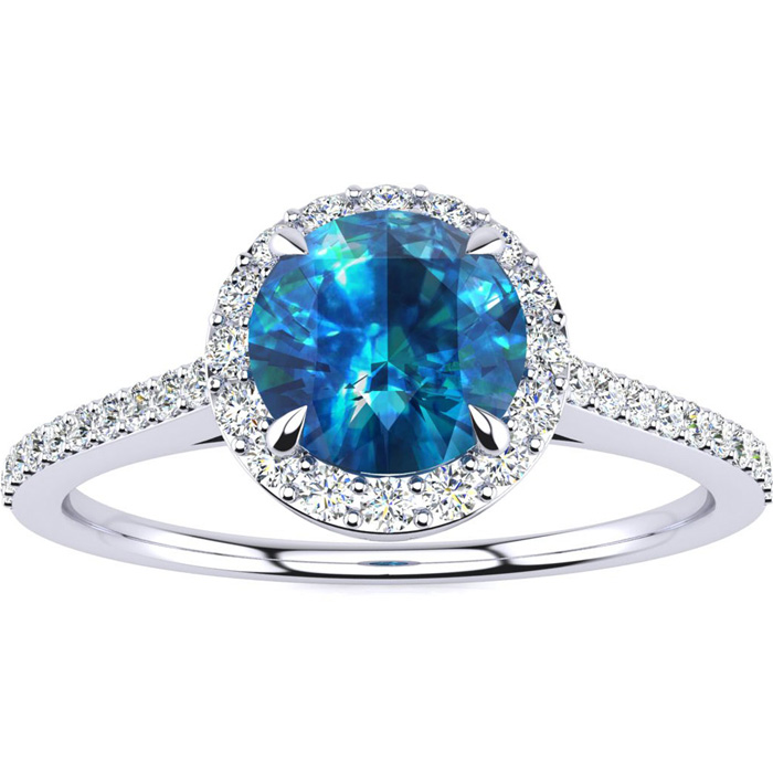 1 Carat Blue Diamond Halo Engagement Ring in 14k White Gold (2.8