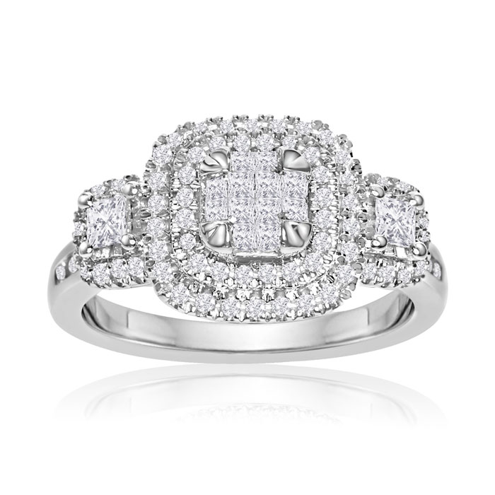 3/4 Carat Princess Cut & Round Double Halo Diamond Engagement Ring in 14K White Gold (5.5 g) (G-H, I2-I3) by SuperJeweler
