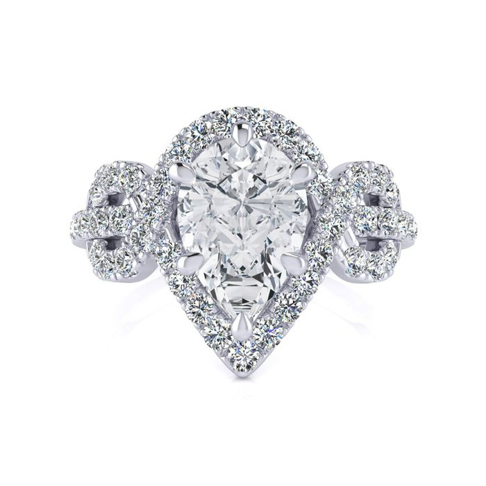 1.5 Carat Pear Shape Halo Diamond Fancy Engagement Ring in 14K Wh