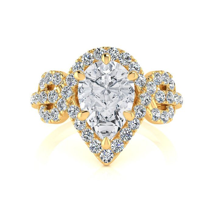 1.5 Carat Pear Shape Halo Diamond Fancy Engagement Ring in 14K Ye