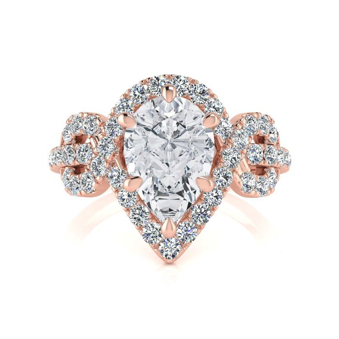 1.5 Carat Pear Shape Halo Diamond Fancy Engagement Ring in 14K Ro