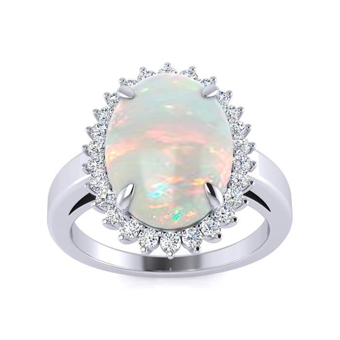 4 Carat Opal & Diamond Ballerina Ring in 14K White Gold (5 g), I/
