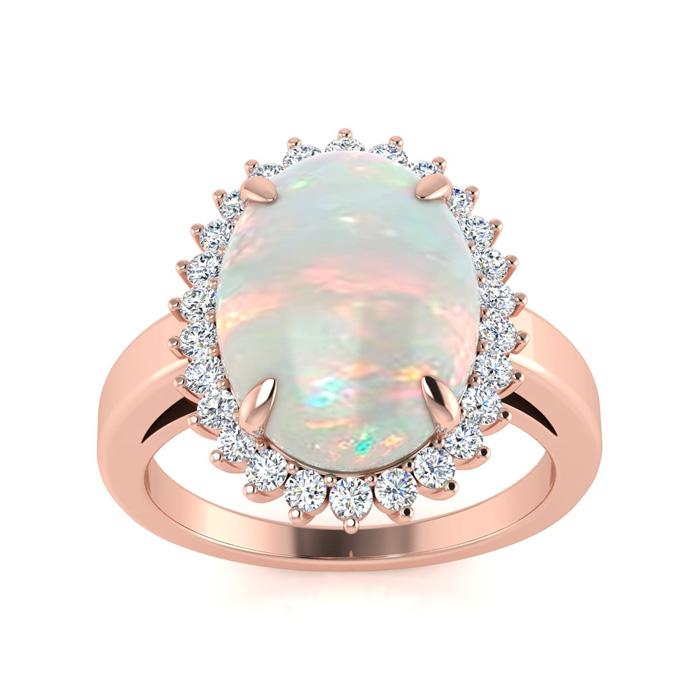 4 Carat Opal & Diamond Ballerina Ring in 14K Rose Gold (5 g), I/J