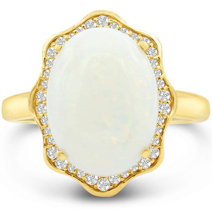 5 Carat Opal & Halo Diamond Ring in 14K Yellow Gold (6.5 g), I/J by Sundar Gem