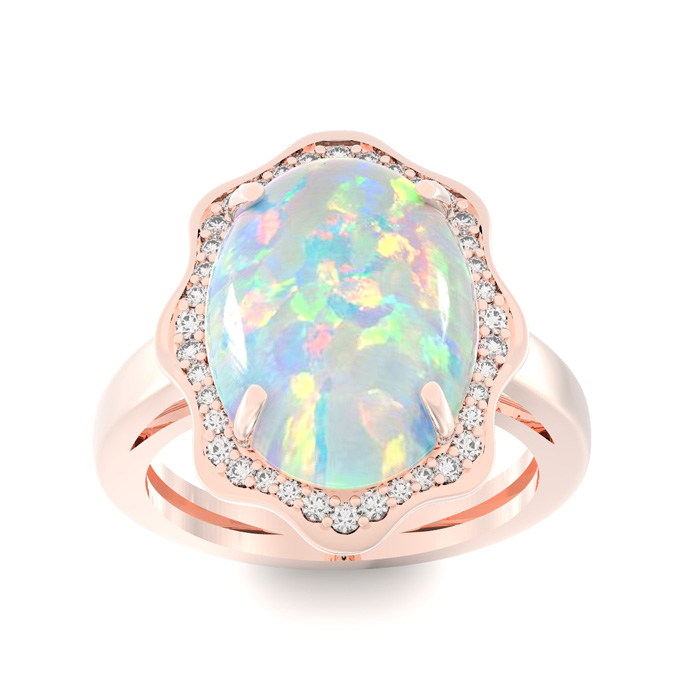 5 Carat Opal & Halo Diamond Ring in 14K Rose Gold (6.5 g), I/J by