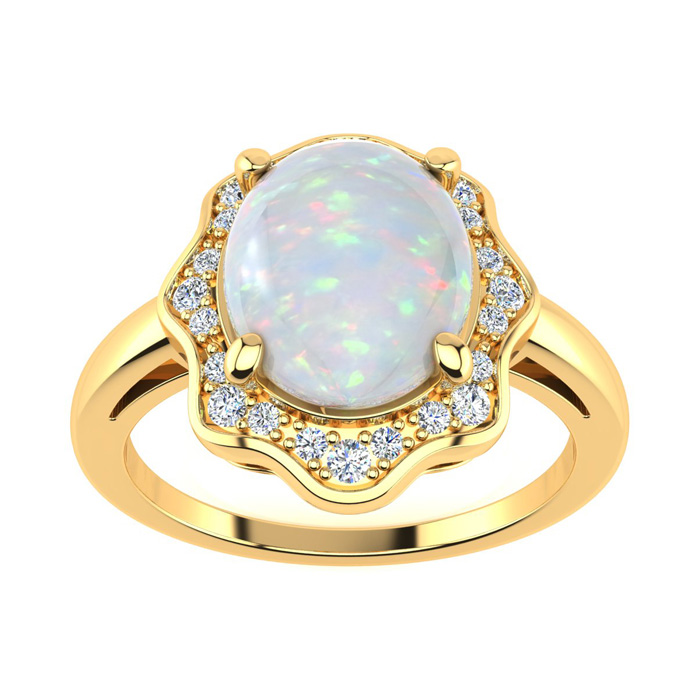 1.66 Carat Opal & Halo Diamond Ring in 14K Yellow Gold (3.7 g), I