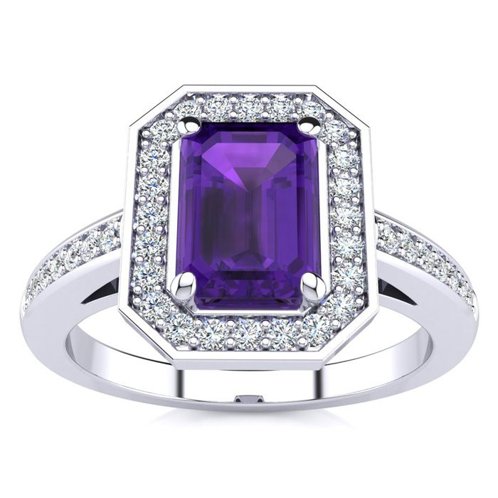 1 Carat Emerald Shape Amethyst and Halo Diamond Ring In 14 Karat White Gold