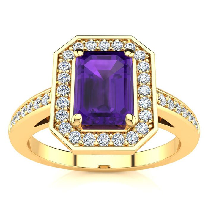 1 Carat Emerald Shape Amethyst and Halo Diamond Ring In 14 Karat Yellow Gold