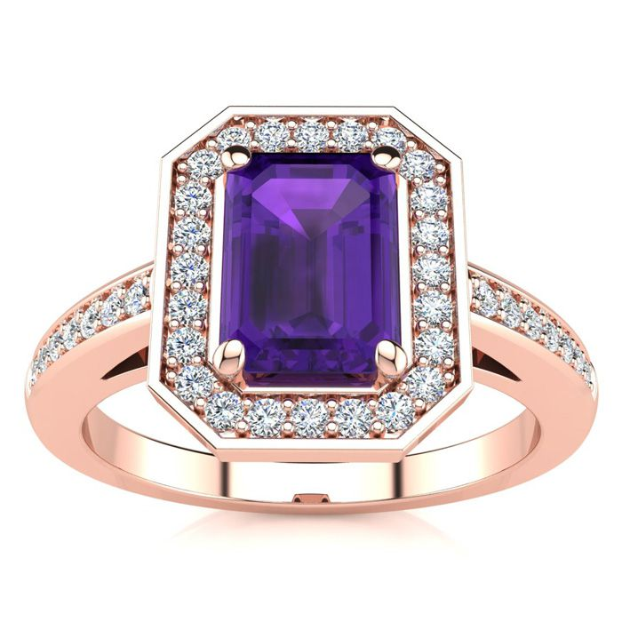 1 Carat Emerald Shape Amethyst and Halo Diamond Ring In 14 Karat Rose Gold
