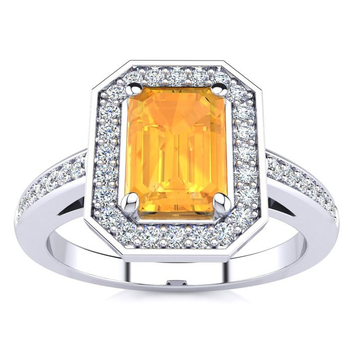 1 Carat Emerald Shape Citrine and Halo Diamond Ring In 14 Karat White Gold