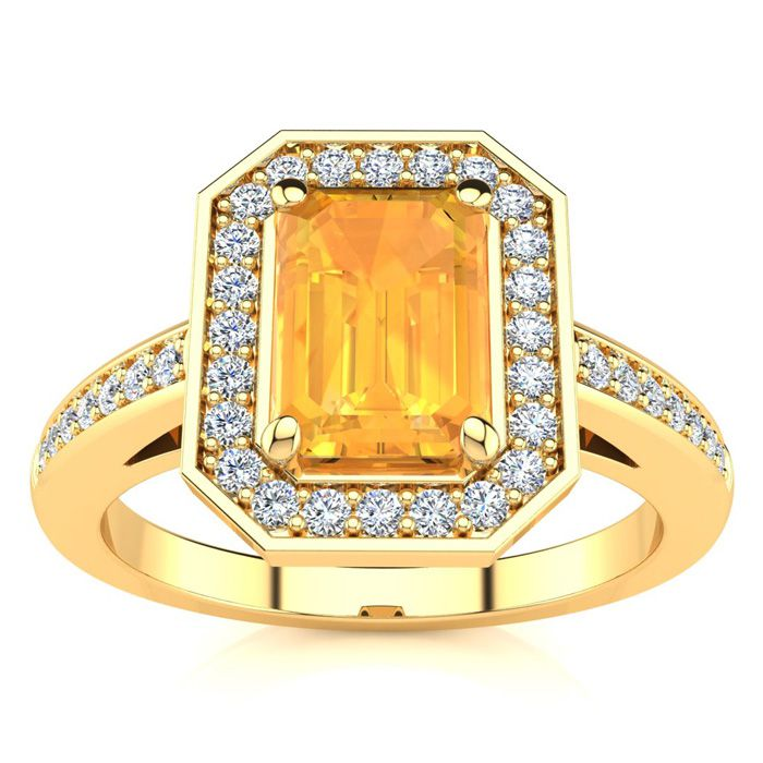 1 Carat Emerald Shape Citrine and Halo Diamond Ring In 14 Karat Yellow Gold