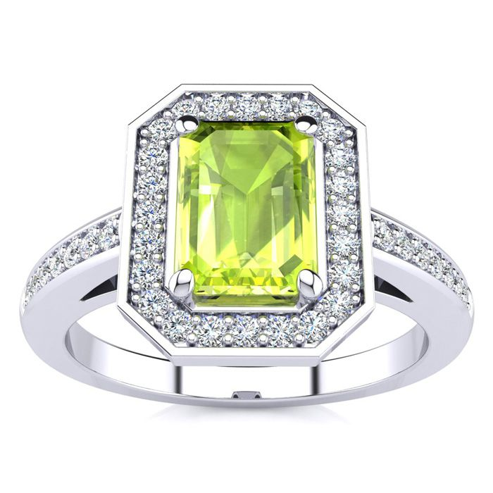 1 1/3 Carat Emerald Shape Peridot and Halo Diamond Ring In 14 Karat White Gold
