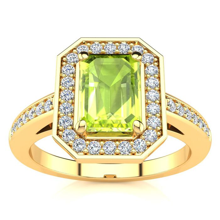 1 1/3 Carat Emerald Shape Peridot and Halo Diamond Ring In 14 Karat Yellow Gold