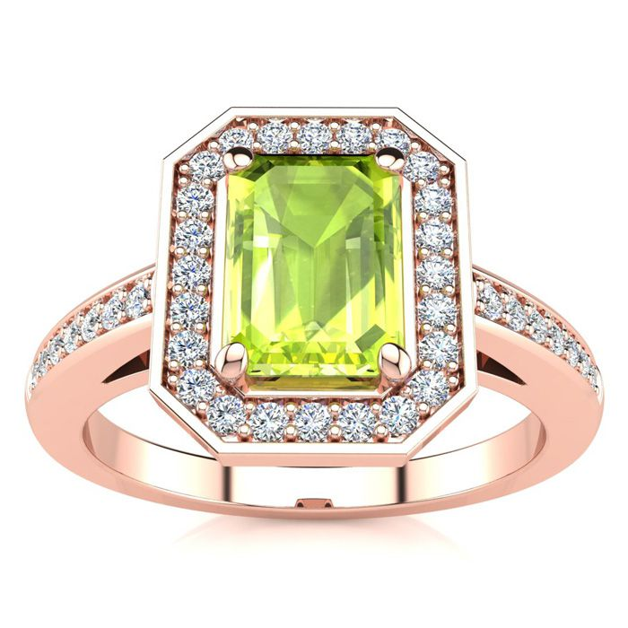 1 1/3 Carat Emerald Shape Peridot and Halo Diamond Ring In 14 Karat Rose Gold