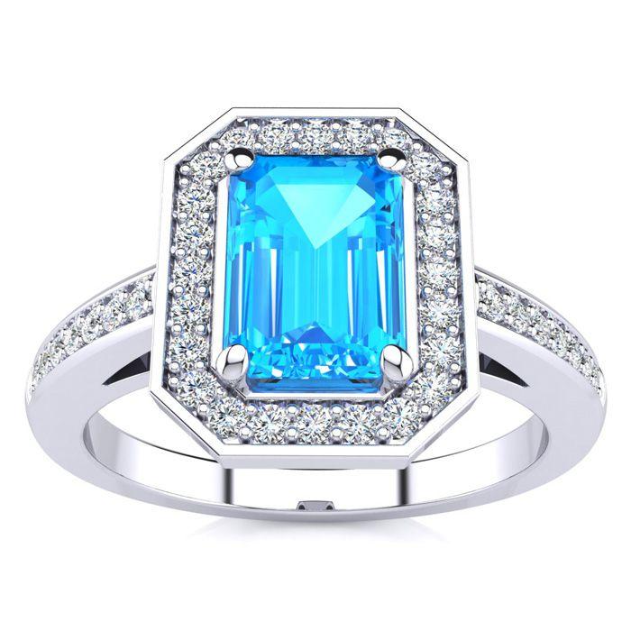1.5 Carat Blue Topaz & Halo Diamond Ring in 14K White Gold (4.6 g