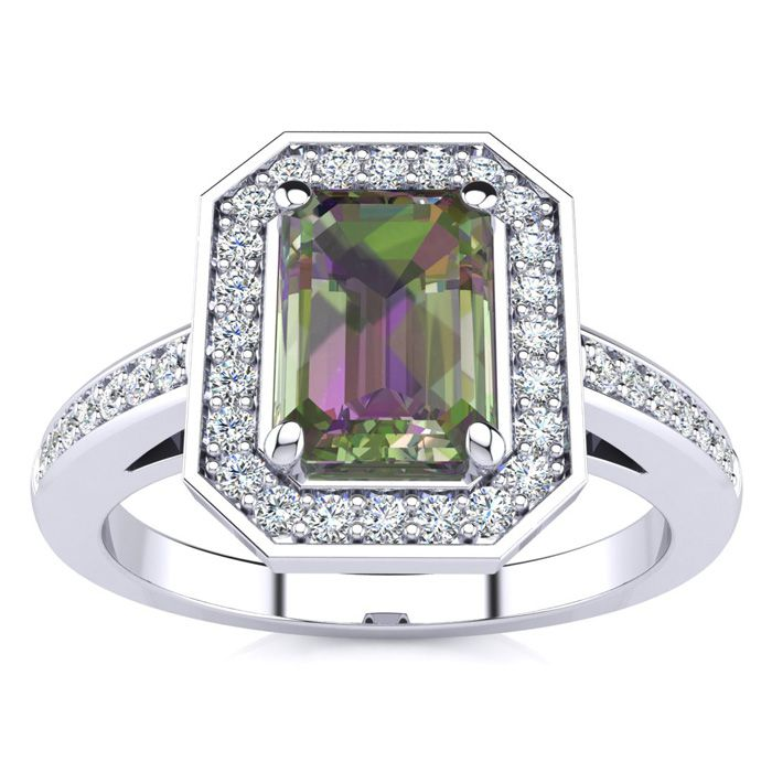 1 Carat Emerald Shape Mystic Topaz and Halo Diamond Ring In 14 Karat White Gold 24820