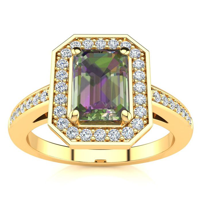 1 Carat Mystic Topaz & Halo Diamond Ring in 14K Yellow Gold (4.6