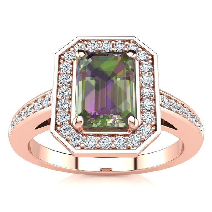 1 Carat Mystic Topaz & Halo Diamond Ring in 14K Rose Gold (4.6 g)