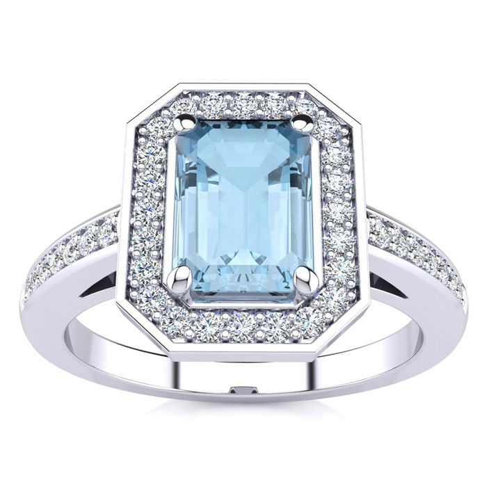 1 Carat Emerald Shape Aquamarine and Halo Diamond Ring In 14 Karat White Gold