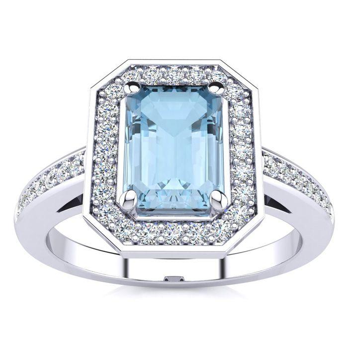 1 Carat Emerald Shape Aquamarine and Halo Diamond Ring In 14 Karat White Gold