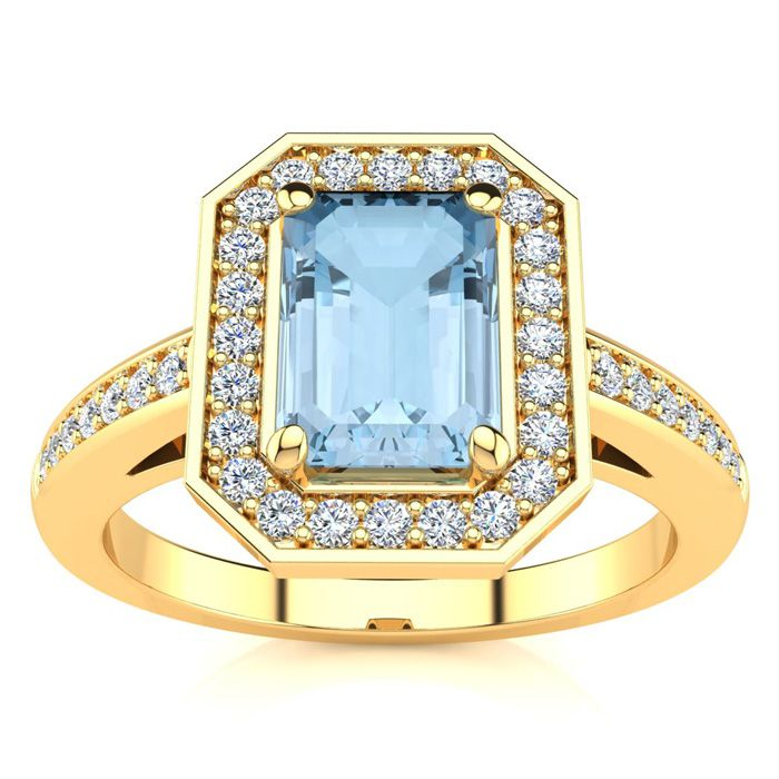 1 Carat Emerald Shape Aquamarine and Halo Diamond Ring In 14 Karat Yellow Gold