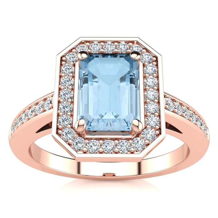 1 Carat Emerald Shape Aquamarine and Halo Diamond Ring In 14 Karat Rose Gold