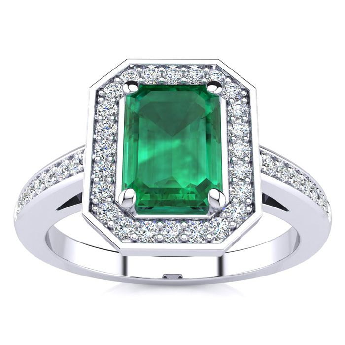 1 Carat Emerald Shape Emerald and Halo Diamond Ring In 14 Karat White Gold