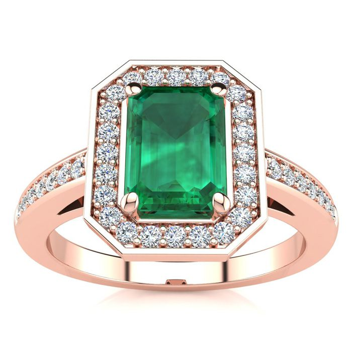 1 Carat Emerald Cut & Halo Diamond Ring in 14K Rose Gold (4.6 g),