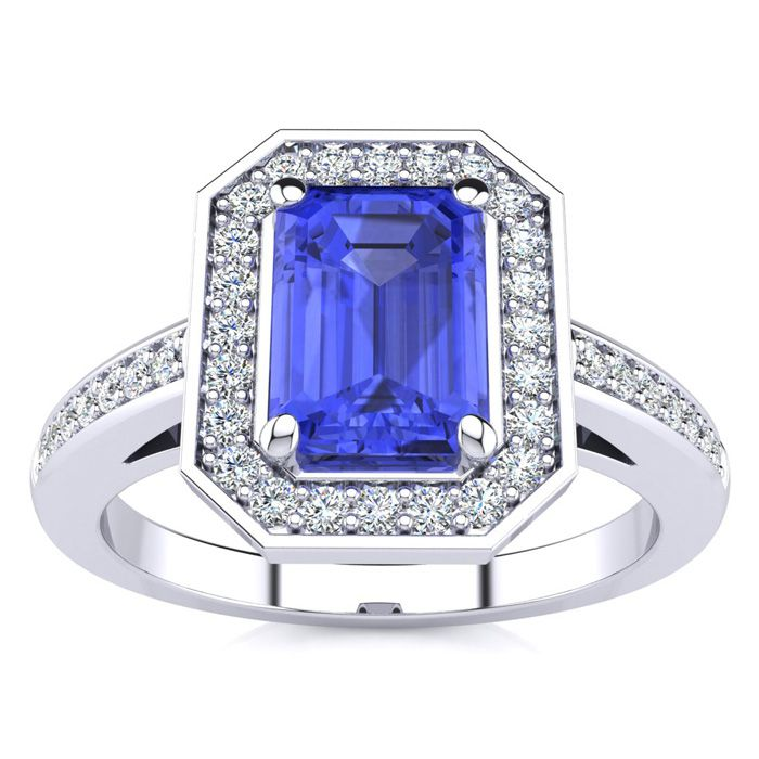 1 1/3 Carat Emerald Shape Tanzanite and Halo Diamond Ring In 14 Karat White Gold
