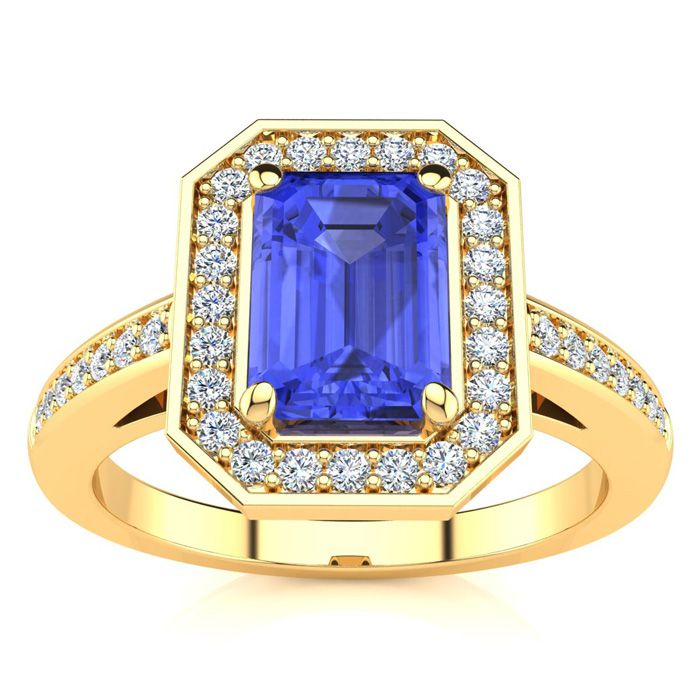 1 1/3 Carat Emerald Shape Tanzanite and Halo Diamond Ring In 14 Karat Yellow Gold