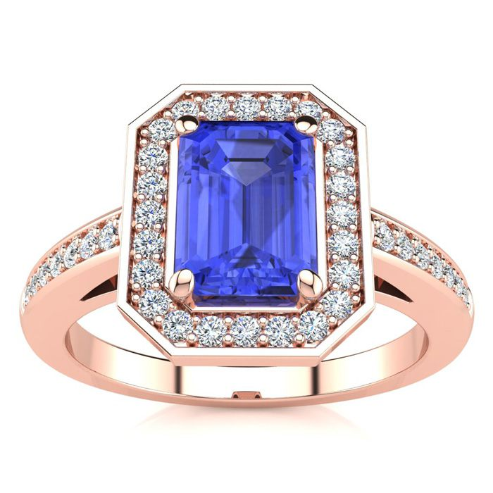 1 1/3 Carat Tanzanite & Halo Diamond Ring in 14K Rose Gold (4.6 g), I/J by SuperJeweler