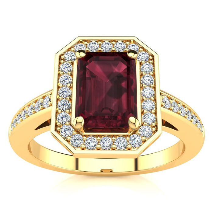 1 1/2 Carat Emerald Shape Garnet and Halo Diamond Ring In 14 Karat Yellow Gold