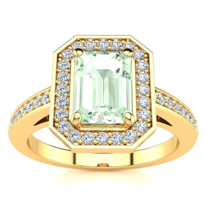 1 Carat Green Amethyst & Halo Diamond Ring in 14K Yellow Gold (4.