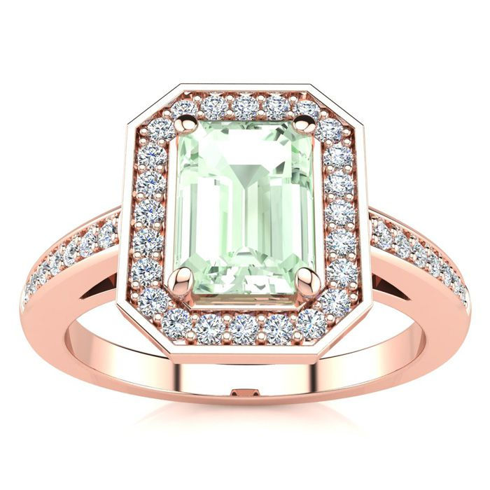 1 Carat Green Amethyst & Halo Diamond Ring in 14K Rose Gold (4.6