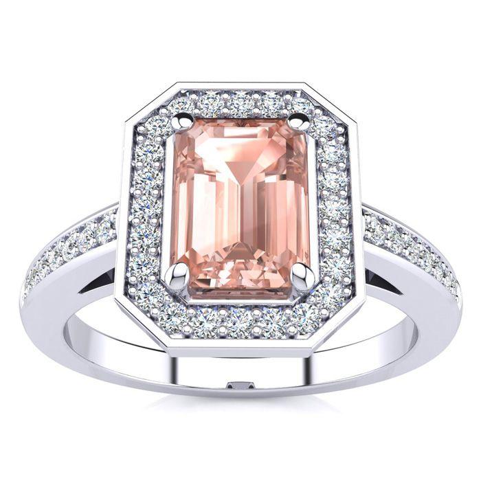 1 Carat Morganite & Halo Diamond Ring in 14K White Gold (4.6 g),