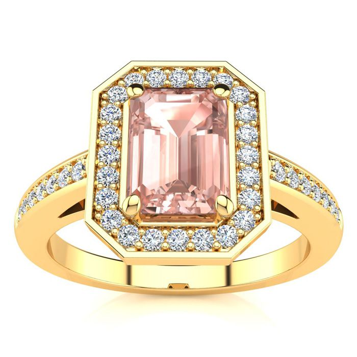 1 Carat Morganite & Halo Diamond Ring in 14K Yellow Gold (4.6 g),