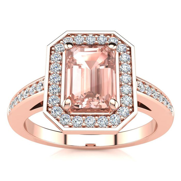 1 Carat Morganite & Halo Diamond Ring in 14K Rose Gold (4.6 g), I/J by SuperJeweler