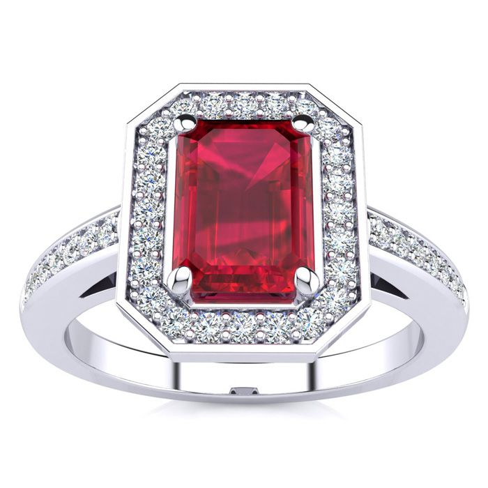 1 1/4 Carat Emerald Shape Ruby and Halo Diamond Ring In 14 Karat White Gold