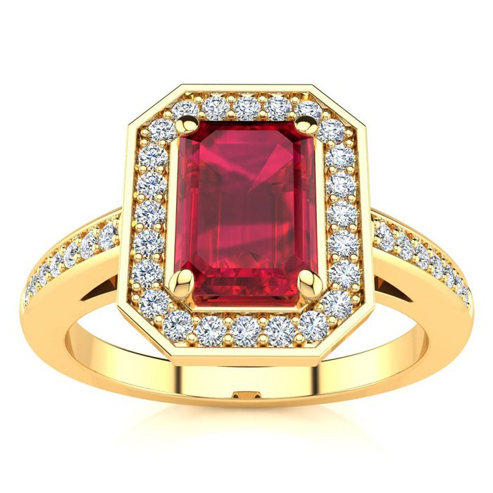1 1/4 Carat Emerald Shape Ruby and Halo Diamond Ring In 14 Karat Yellow Gold