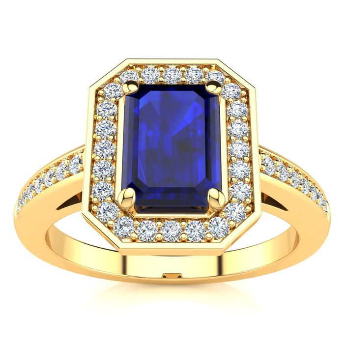 1 1/3 Carat Sapphire & Halo Diamond Ring in 14K Yellow Gold (4.6