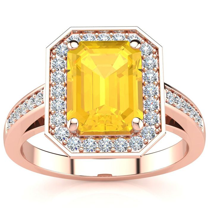 2 Carat Citrine & Halo Diamond Ring in 14K Rose Gold (5.1 g), I/J
