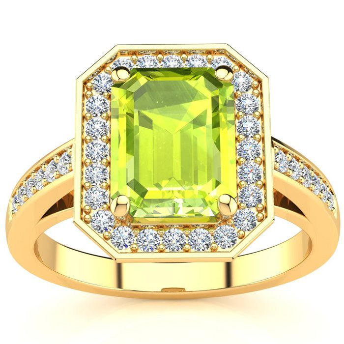 2 Carat Emerald Shape Peridot and Halo Diamond Ring In 14 Karat Yellow Gold