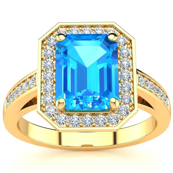2 1/4 Carat Blue Topaz & Halo Diamond Ring in 14K Yellow Gold (5.